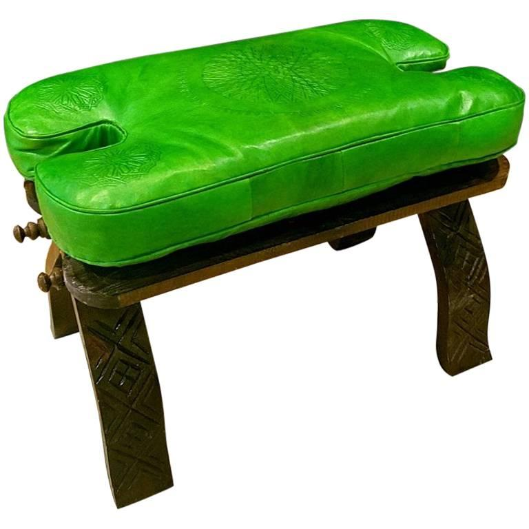 Handmade Moroccan Camel Saddle, Lime Green Leather Cushion