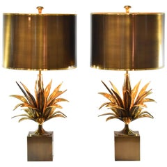 """Pair of Charles Paris """"Agave a Gorge"""" Tables Lamps"""