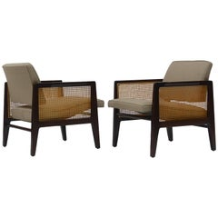 Pair of Edward Wormley for Dunbar Cane Sided Lounge Chairs