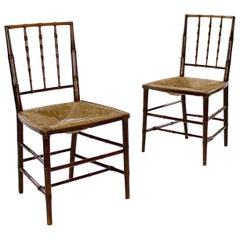 Pair of George III Stained Beech Faux Bamboo Side Chairs