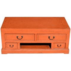 Orange Asian Low Chest, TV Stand, Solid wood