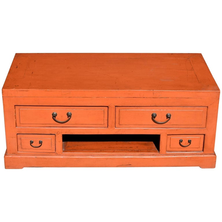 Orange Asian Low Chest Tv Stand Solid Wood For Sale At 1stdibs