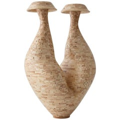 Contemporary American Two Headed Wooden Vase, Ash, Handmade, Sculpture, In Stock