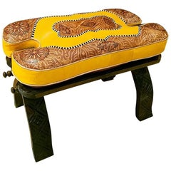 Handmade Moroccan Camel Saddle, Mustard and Tan Leather Cushion