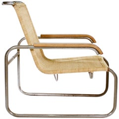 'B35' Tubular Metal and Wicker Armchair by Marcel Breuer