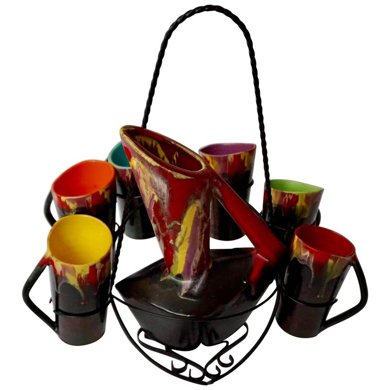 Vallauris Ceramic Pitcher with Six Cups, France, 1950s For Sale