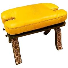 Handmade Moroccan Camel Saddle, All Mustard Leather Cushion