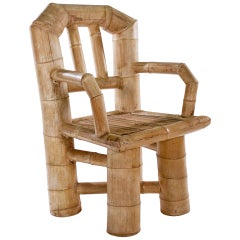 Unusual Large Bamboo Armchair