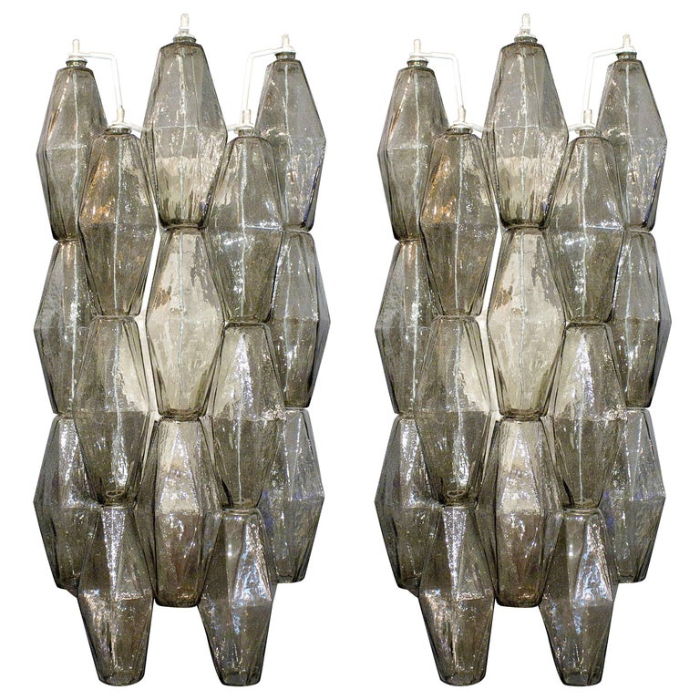 Venini Style Pair of Italian Smoked Taupe Polyhedral Murano Glass Sconces For Sale