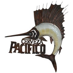 Cerveza Pacifico Handmade Folk Art Sign of Marlin