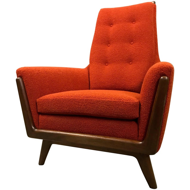 High Back Upholstered Lounge Chair by Adrian Pearsall