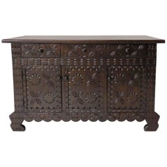 Dos Gallos Custom Carved Console / Media / Vanity Cabinet