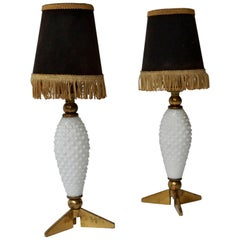 Pair of Italian Brass and Glass Table Lamps