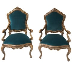 Hand-Carved Custom Pair of Venetian Rubbed Gilt Armchairs