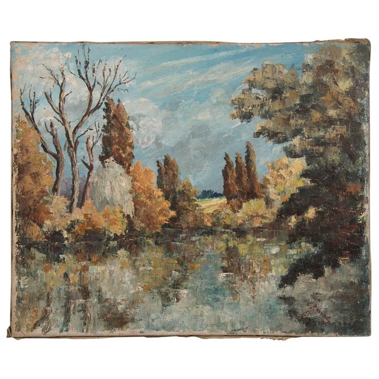 Antique French Impressionist Painting Signed E. Raverdy, circa 1885