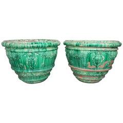 Pair of Monumental Size Italian Terra Cotta Glazed Green Planters