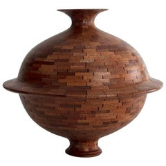 Contemporary American Wooden Vessel, Mahogany, Handmade, Sculpture, In Stock