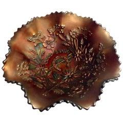 "1930'S American Blown Art Glass ""Good Luck"" Ruffle Bowl By, Northwood"