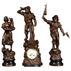 Antique French Figural Clock Set after Xavier Raphanel