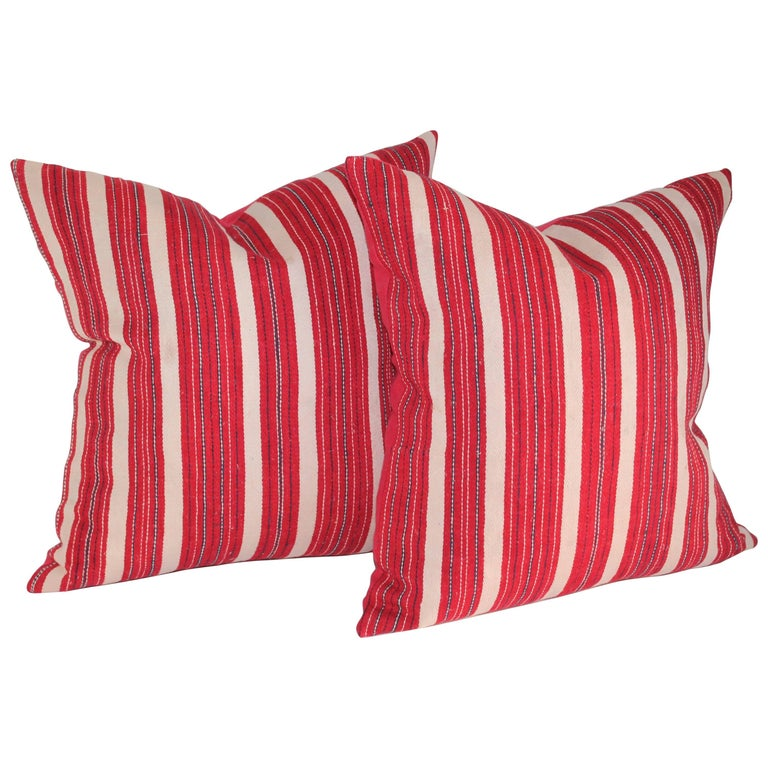 Red Ticking 19th Century Pillows, Pair For Sale