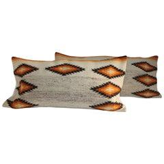 Navajo Indian Weaving Geometric Pillows, Pair