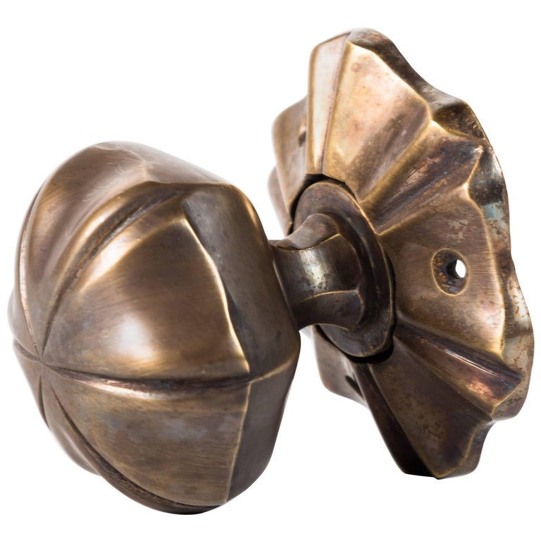 Fluted Doorknob and Rosette Set For Sale