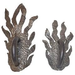Pair of Sculptural Bronze Door Pulls