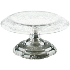 HP Sinclaire Engraved Glass Centerpiece Bowl with Gorham Sterling Repousse Base