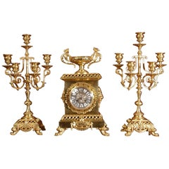Compagnie Des Bronzes Large and Stunning Classical Gilt Bronze Clock Set