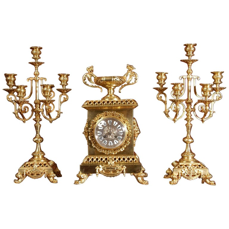 Compagnie Des Bronzes Large and Stunning Classical Gilt Bronze Clock Set For Sale