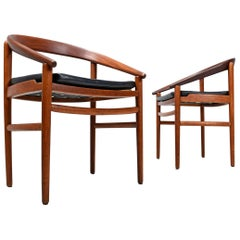 Danish Bowed Back Mid-Century Modern Teak Armchairs by H. Brockmann-Petersen