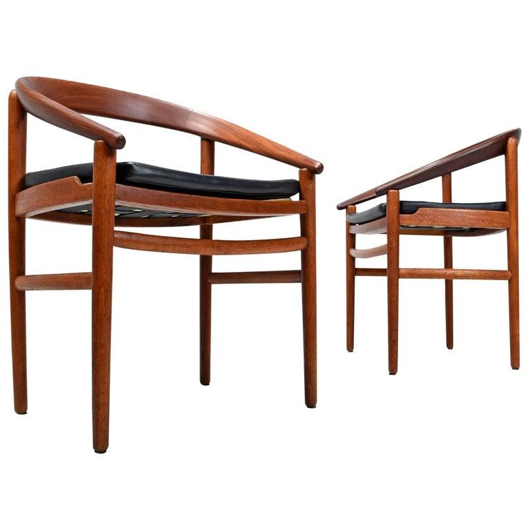 Danish Bowed Back Mid-Century Modern Teak Armchairs By H