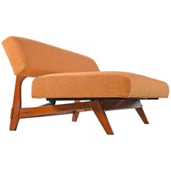 Mid-Century Modern Orange Convertible Daybed Sofa