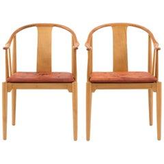 Pair of Hans J. Wegner Chinese Chairs for Fritz Hansen