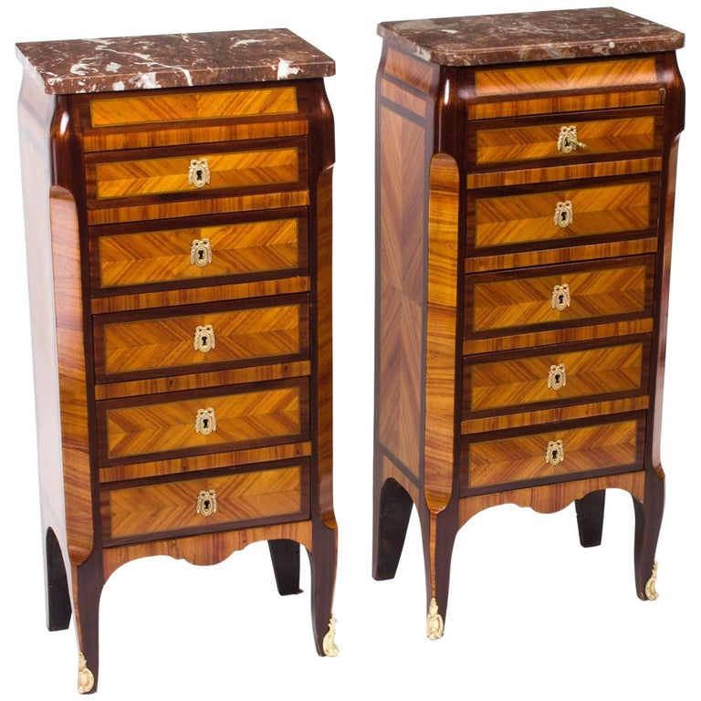 19th Century Pair of French Kingwood & Rouge Marble-Top Bedside Chests Cabinets