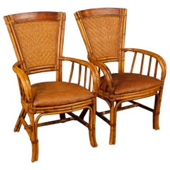 20th Century Spanish Design Armchairs in Bamboo Wood
