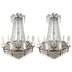 Pair of Late 19th Century Silvered Brass Bag and Swag Chandeliers