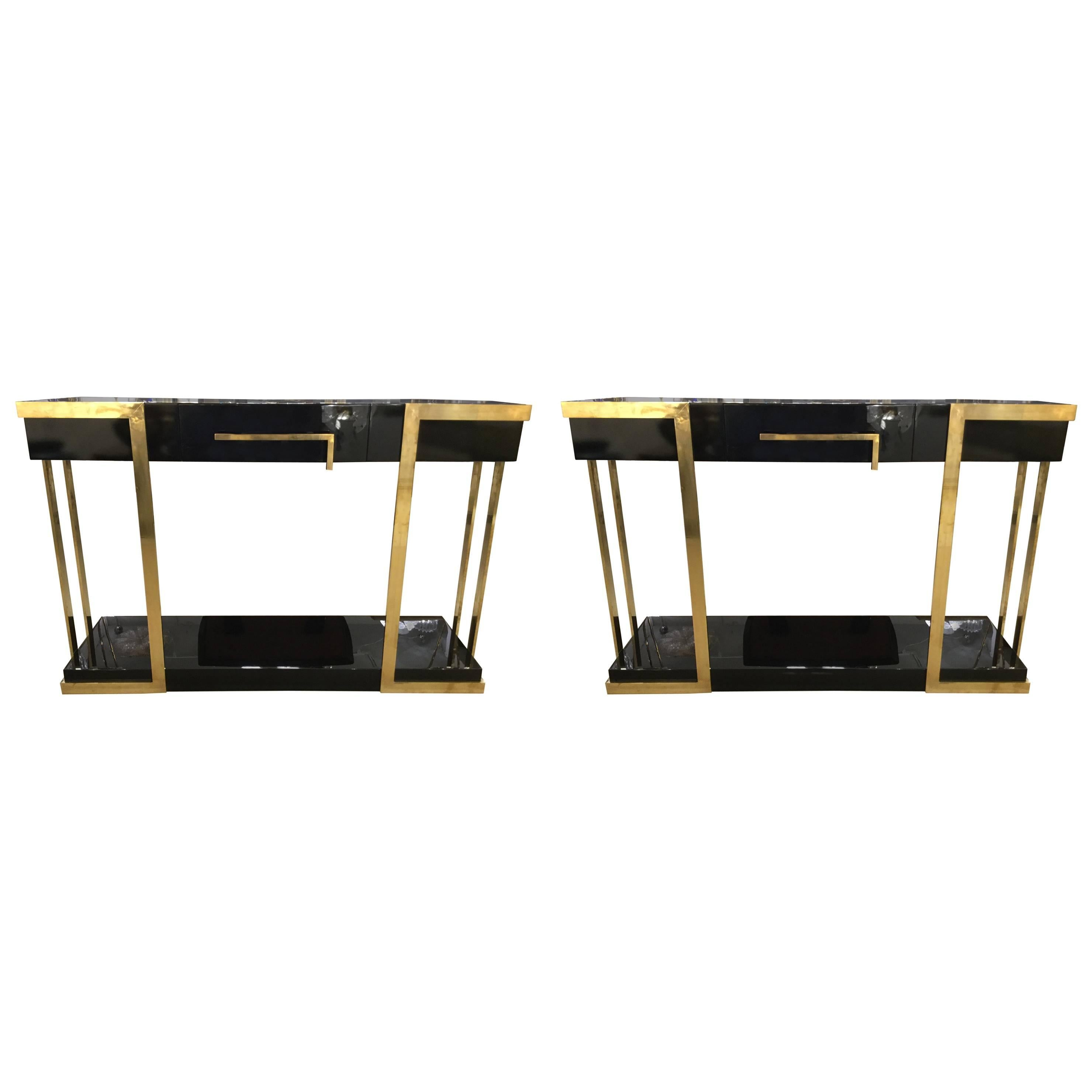 Pair of  Italian Lacquered Console Tables on Brass Handle and Legs, circa 1980