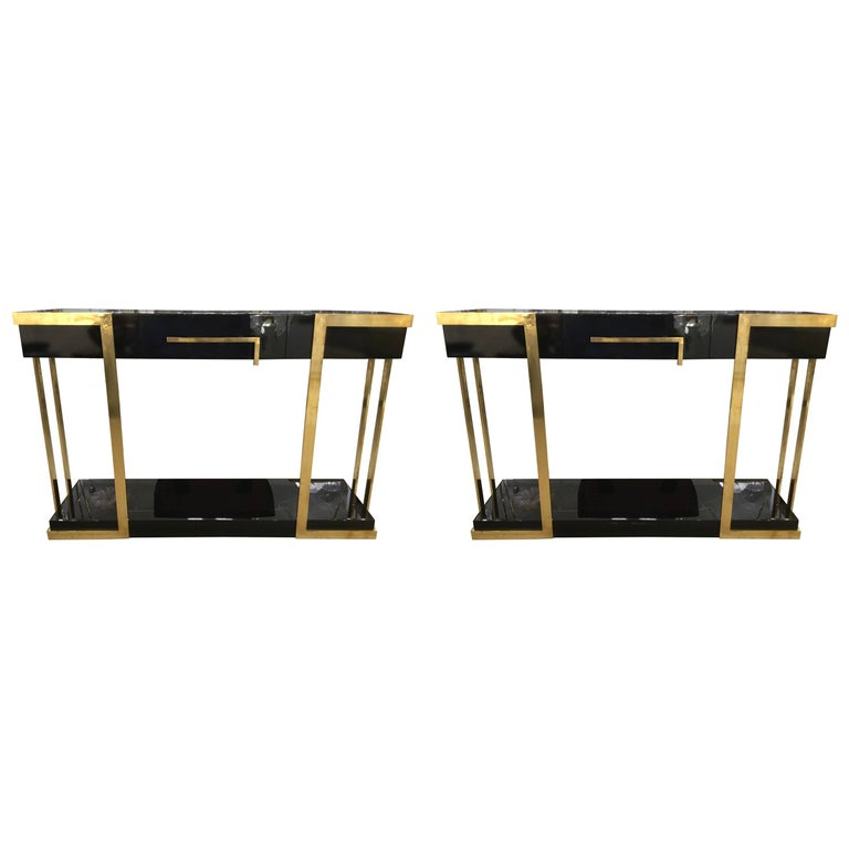 Pair of  Italian Lacquered Console Tables on Brass Handle and Legs, circa 1980 For Sale