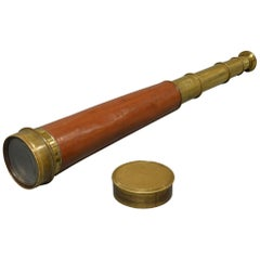 Large Leather Bound Brass Four-Draw Telescope