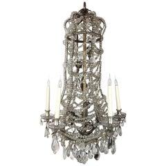 Unusual Silvered Baguès Crystal Beaded Chandelier