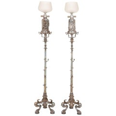 Pair of Silvered Bronze Large Antique Floor Lamps, Attributed to Barbedienne