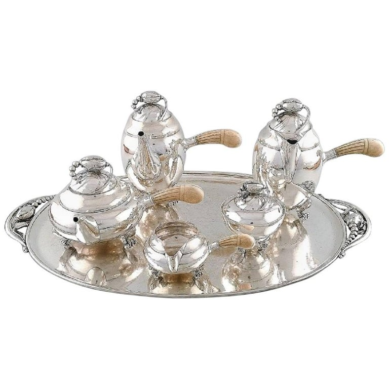 Exquisite and Very Rare Georg Jensen Blossom Sterling Tea and Coffee Service