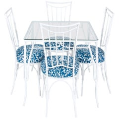 White Metal Faux Bamboo Outdoor Dining Set