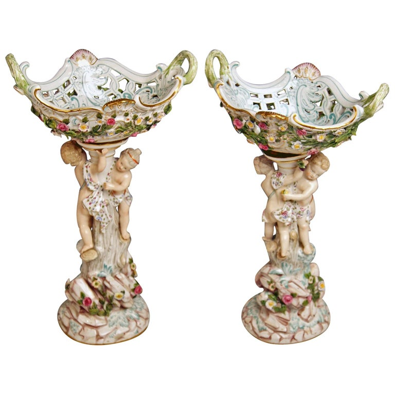 Meissen Two Centrepieces Fruit Bowls Cherubs Model A 59 Kaendler Made circa 1860