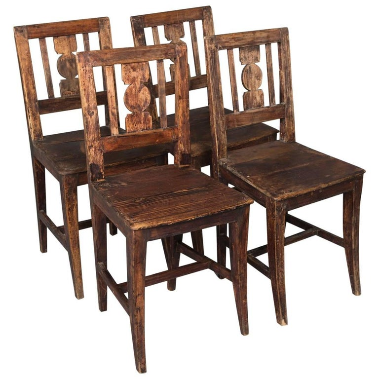 Set of Four 19th Century, Latin American Dining Chairs