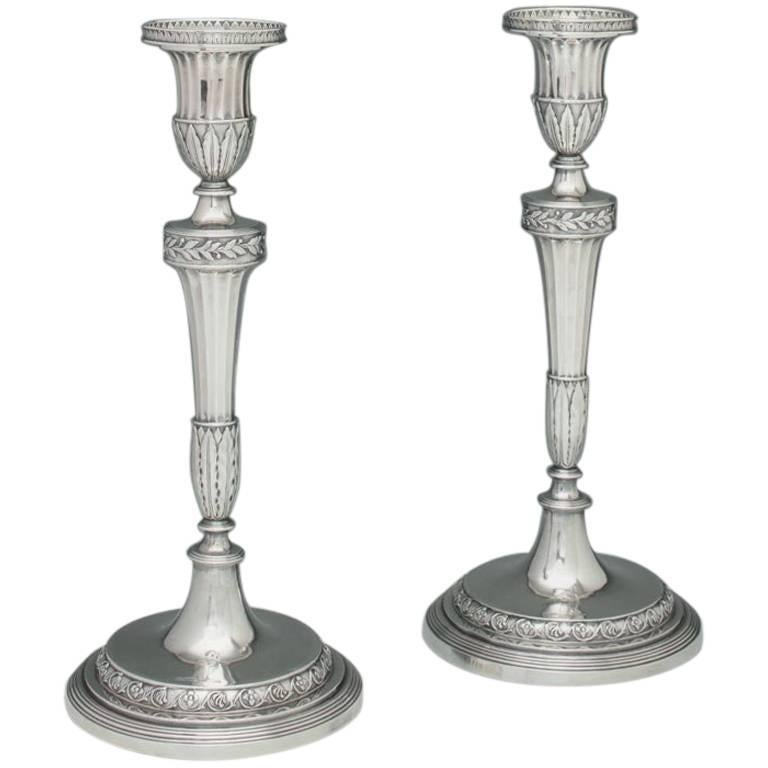 Pair of George III English Silver Candlesticks