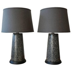 Pair of Black Terrazo Table Lamps 1950s