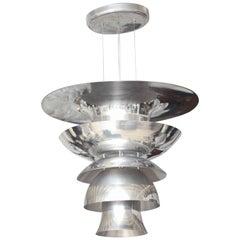 Large Italian Modern Multi-Tiered Aluminum Pedant Light Fixture