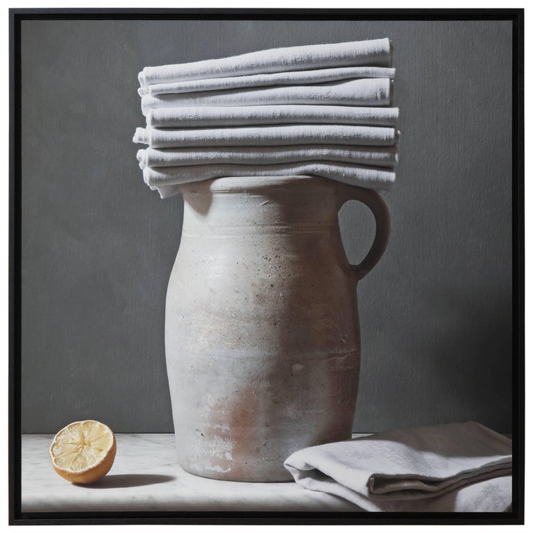"""Large, Still Life Photograph Entitled """"Linge Et Grès"""" by Thierry Genay, Signed"""